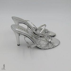 Lauren Strappy Metallic Silver Adalira Heel